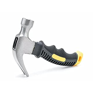 Triplespark 8oz Mini Latthammer - Edelstahl Safety Hammer mit Nagel Puller TPR Griff 160mm Portable Holzbearbeitung Handwerkzeug