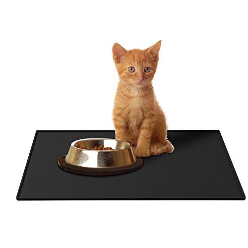 Parsion Napfunterlage Hund, Katzen-fressnäpfe Futtermatte für Haustier, Silikon wasserdicht Anti-Rutsch FDA Tiernahrung-Matte Katzen-zubehör Fuss-Matte (48 x 1 x 30 cm) (schwarz)