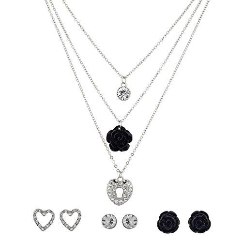 Lux accessori Sblocca il mio cuore cristallo nero rosa floreale multiple collana e orecchini set.