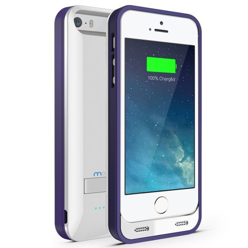 Maxboost Atomic S External Protective iPhone 5S Battery Case / iPhone 5 Battery Case with Built-in Kickstand - White / Purple (Apple MFI Certified, Fits All Versions of iPhone 5 / 5S - Lightning Connector Output, MicroUSB Input ) [100% Compatible with iPhone 5 / 5S on iOS 7.0+ , Strengthened MicroUSB Input Port, No Signal Reduction]