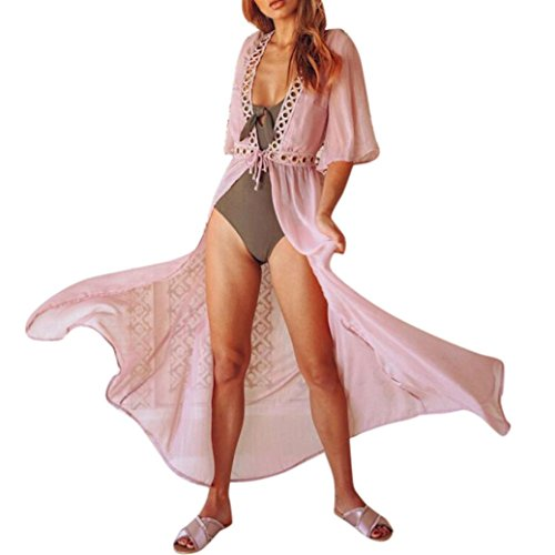 Manadlian Chiffon Kleid Frau Bikini Bademode Aufdecken Strickjacke Strand Badeanzug Transparent Kleid (S, Rosa) (Halloween-badeanzüge)