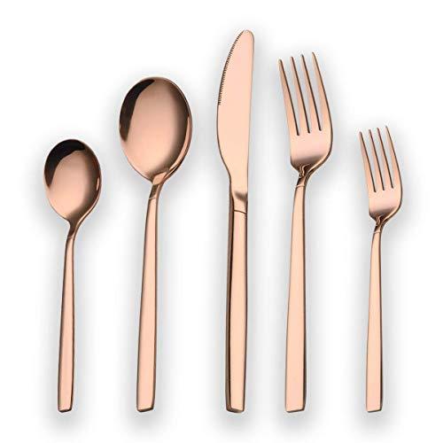Berglander 30 piezas titanio rosa chapado oro cubiertos