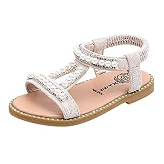 IGEMY_ Girls Pearl Shoes,Toddler Infant Kids Baby Girls Pearl Crystal Single Princess Roman Shoes Sandals for 1-6Years Beige