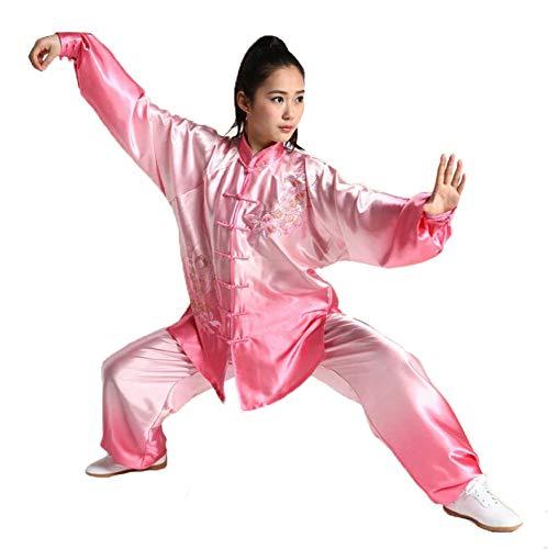 Bestickte Satin-robe (FYUUN Chinesische Traditionelle Tai Chi Kleidung Kung Fu Kleidung Kampfkunst Kleidung Plain Satin Hot Drilling Bestickt Gradienten Morgengymnastik Kleidung Unisex,Pink-S)
