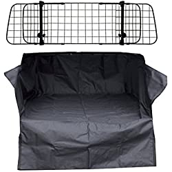 XtremeAuto Heavy Duty Car Boot Liner Mat & Bumper Protector & Mesh Grill Dog Barrier Guard
