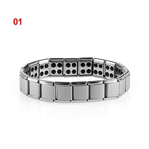 MHOOOA Pulseras magnéticas de Acero Titanium Estiramiento del Brazalete para Bajar de Peso Adelgazar par germanio acupuntura Masaje Cuidado de la Salud