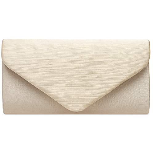 Caspar TA500 elegante Damen Envelope Satin Clutch Tasche Abendtasche, Farbe:champagner, Größe:Einheitsgröße