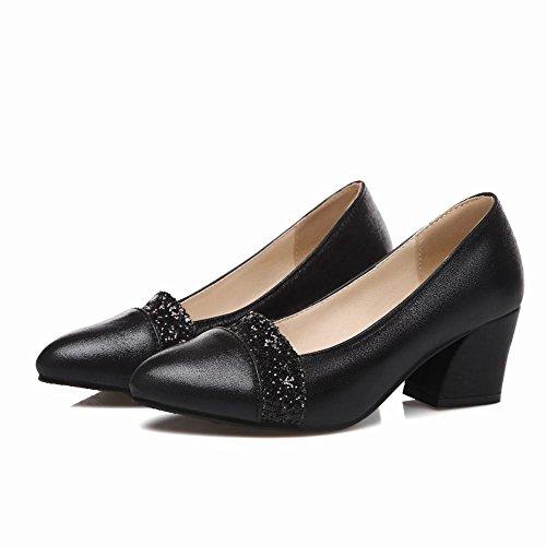 Mee Shoes Damen bequem modern elegant Niedrig Shallow Mund Pailletten spitz dicker Absatz Geschlossen Pumps Schwarz