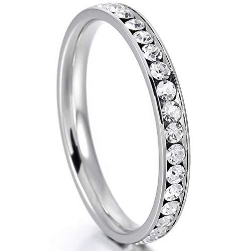 Flongo Damen-Ring Mädchen Frauen Ringe, Edelstahlring Damenring Ring Silber Weiss Strass Linie Breit 4mm Damen Frauen Mädchen Bandring Hochzeit Engagement Verlobungsring Größe 52