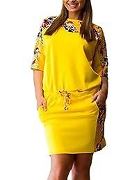 151148cb1f Vestidos Camiseros Mujer Cortos Verano Elegantes Manga Corta Cuello Redondo  Moda Modernas Casual Hippie Estampado Flores