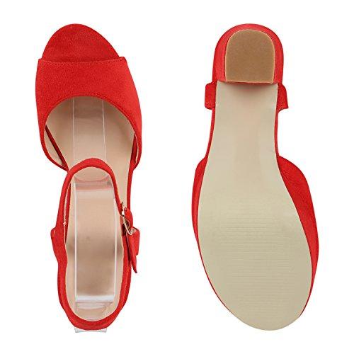 Damen Plateau Sandaletten | Peeptoes Party Schuhe | Pumps Blockabsatz High Heels |Satin Samt Strass Fransen Rot Velours Schnalle