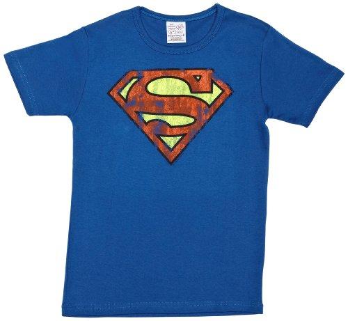 Superman Kostüm Monat 18 (Logoshirt Jungen T-Shirt Superman logo, Blau (Azure Bleu), 18)