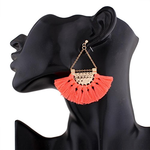 Earrings HKFV Mode Bohemian Ohrringe Frauen Lange Quaste Fringe Baumeln Ohrringe Schmuck Große Fan Mode europäischen und amerikanischen Quasten Ohrringe (Rosa)
