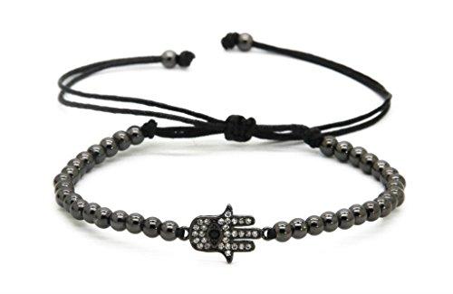 GOOD.designs Chakra Perlen-Armband aus Hämatit-Natursteinen, Hand der Fatima Hamsa-Anhänger in Schwarz
