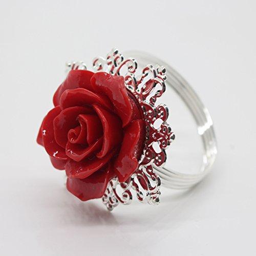 10 Rouge Argent décoratif rose rond de serviette serviette support pour fêtes de mariage Table Decor de nombreuses couleurs disponibles