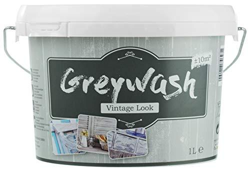 (13,99€/L) Kreidefarbe für Holz Vintage Look Shabby-Chic Antiklook Möbelfarbe Grey wash | grau | 1 Liter | + / - 10m² | Innen/aussen | Nassabriebbestänig