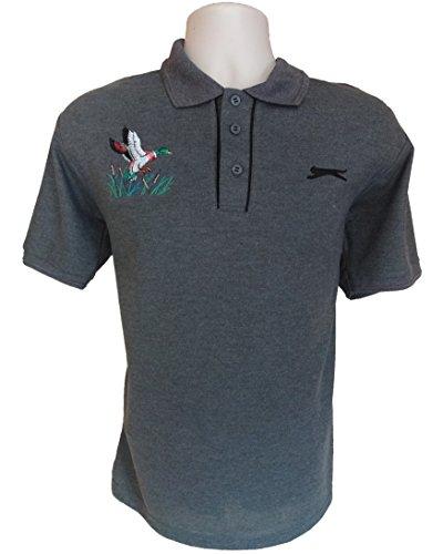 Slazenger Herren Jagd Angeln Shooting Game Mallard Fasan Motiv Grau Polo Shirt Größe S -