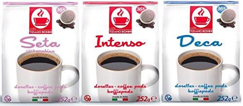 PROBIERSET SENSEO - 180 Kaffeepads - 3 Sorten: Intenso (72 Stück), Seta (72 Stück), Koffeinfrei (36 Stück) - Kompatible Kaffeepads von Caffè Bonini Italien.