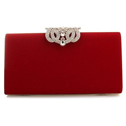 Abendtasche, Damen Mode Party Tasche und Kupplungen Luxus Designer Tasche (rot) (Kleid Kleine Samt-rosa)