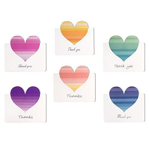 Kuuqa 36 Stück Herz danke Karten mit 36 Umschlägen und 36 Aufklebern Herzförmige Karte zum Valentinstag (6 Farben)