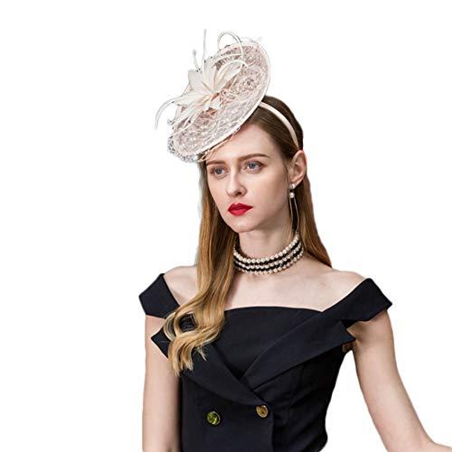 TOBEEY Frauen Sinamay Fascinators Vintage Derby Feather Stirnband Cocktail Tee Party Hochzeit Kopfschmuck