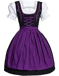 Vestido Dirndl para Mujer, Disfraz de Bávaro de Manga Corta para Oktoberfest Festival Bávara Alemana