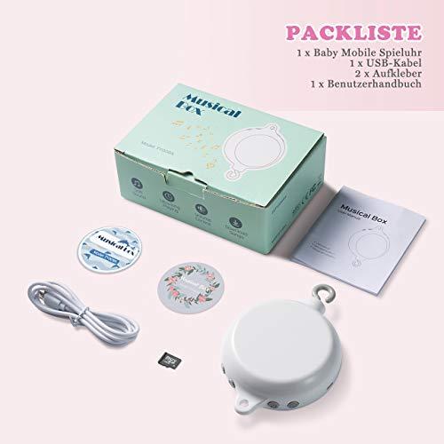 【Neue Version】TopElek Elektrische Baby Spieluhr mit 128 MB Micro-SD-Speicherkarte(Erweiterbar bis 2 GB) für Ihr Babymobile, 12 Melodien inklusive. - 8