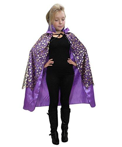 De13 Hexen Umhang in lila schwarz - für Erwachsene und Teenager! Halloweenkostüm für Halloween Spaß! Einheitsgröße sowohl für Teenager ab Gr. 146 als auch Erwachsene bis Gr. M