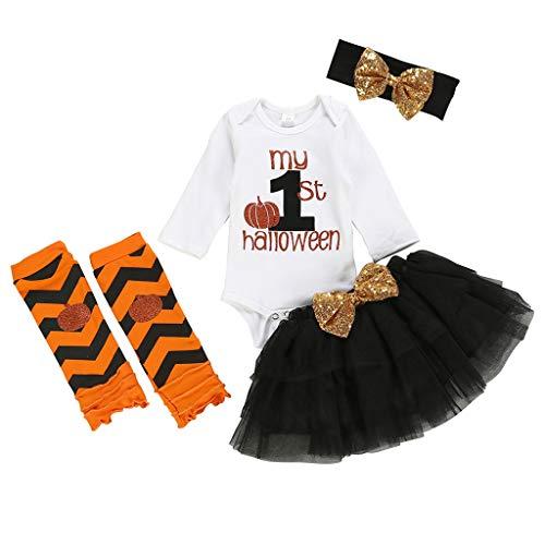 Zilosconcy Halloween Mädchen Kleid Kostüm Prinzessin Kleid Cartoon Bat Brief drucken Halloween Mädchen Netz Tutu Rock Kleid 4 teiliges Set Hohe Qualität 100% - Baby T Bird Kostüm