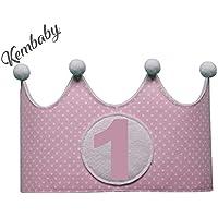 Corona primer cumpleaños 1 año para niñas lunares rosa