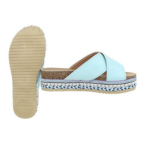 Ital-Design Chaussures Femme Sandales Plat Mules lumière bleue G-79