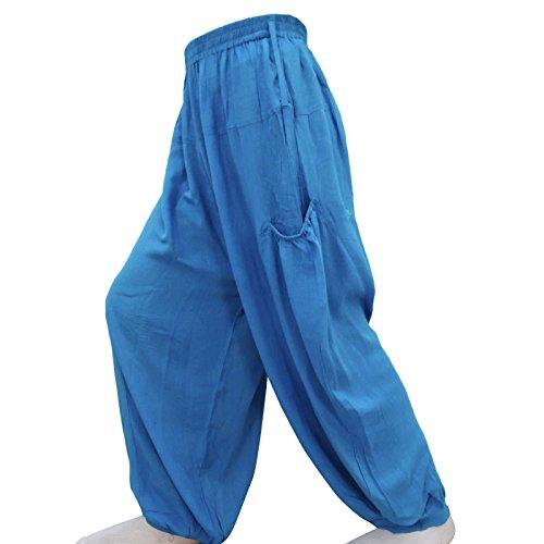 Yoga Pantalon Taille Élastique Bleu Bohême Coton Harem Pantalon Casual Bleu