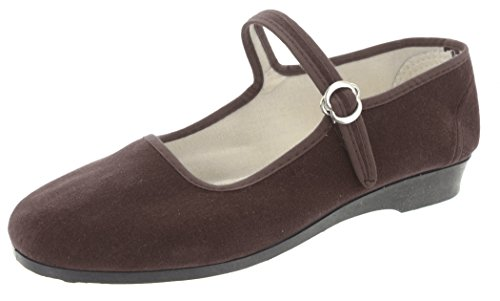 MIK funshopping Samt-Ballerina China Flat Brown 41