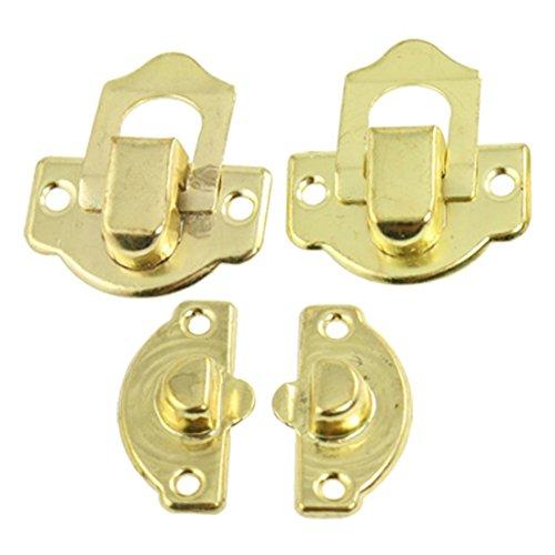 SODIAL(R) Koffer Ersatz Gold Tone Metall sperren Ornament Taste 2 Paar (Tasten Sperren)