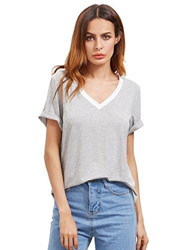 ROMWE Damen Sportlich T-Shirt V Ausschnitt Kurzarm Top Hell Grau S