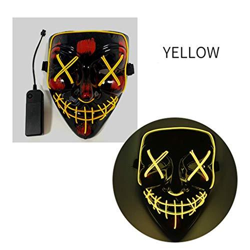 V Kostüm Per Vendetta - HappyL Halloween Kostüm Party Maske LED Leuchtmaske Festival Halloween Kostüm (Color : Yellow)