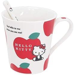 Kamio Japón Hello Kitty taza, diseño de patrón de Apple w/cuchara