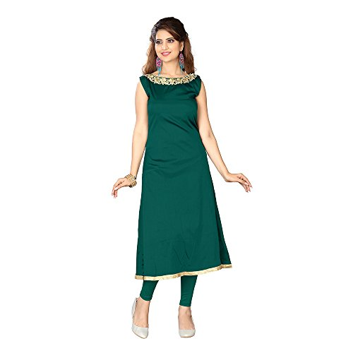 Purva Art Women's Taffeta Silk Neck Work Stitched Kurta For Girls (PA_1512_Taffeta...