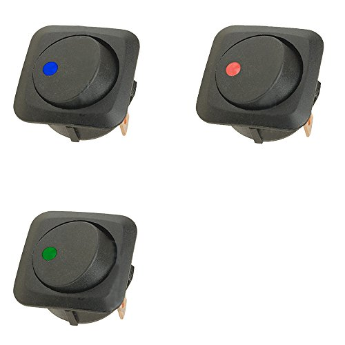 Mintice 3 X 25mm Véhicule de voiture Camion de bateau Rond Commutateur à bascule Interrupteur à bascule Lumière LED 12V 25A bleu rouge vert