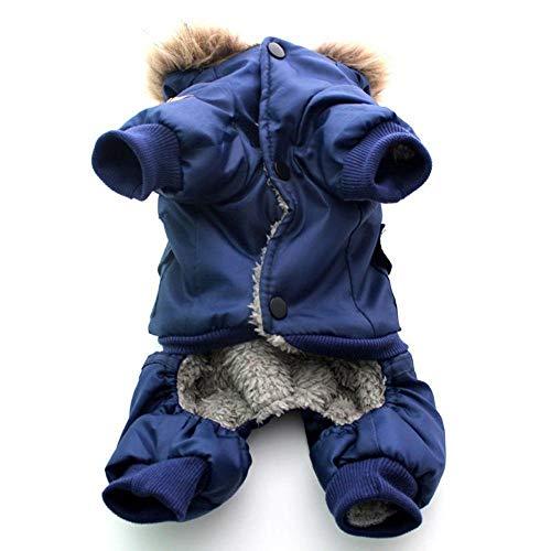 GHYSTORM Haustierkleidung Winter Warmer Hund Gepolsterte Kapuzenjacken Overall mit Vier Beinen Hosen Bekleidung Mäntel Luftwaffe Größe XS-XL-Blau_XL -