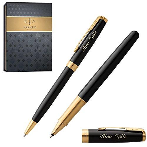 PARKER Schreibset SONNET BLACK LACQUER G.C. mit Gravur Tintenroller und Kugelschreiber mit Geschenk-Etui