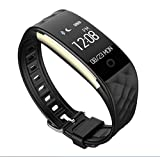LJXAN Fitness-Tracker HR, Activity Tracker Watch Smart Armband S2 Smart Heart Rate Armband Dynamische Herzfrequenz-Überwachung Multi-Mode-Schritt Informationen Push Reminder,Black