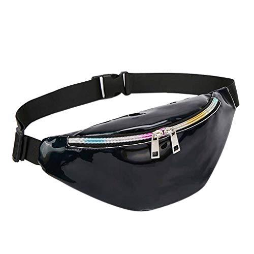 Schwarze Bauchtasche für Reise, Sport & Outdoor Aktivitäten. Gürteltasche für Damen. Hüfttasche mit Kopfhöher-Öffnung.
