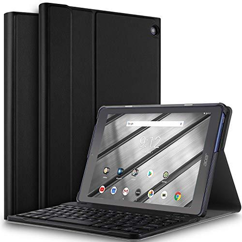 ELTD Tastatur Hülle für Acer Iconia One 10 B3-A50 [Deutsches QWERTZ-Layout], PU Leder Hülle mit magnetisch Abnehmbarer drahtloser Tastatur für Acer Iconia One 10 B3-A50 [Schwarz]