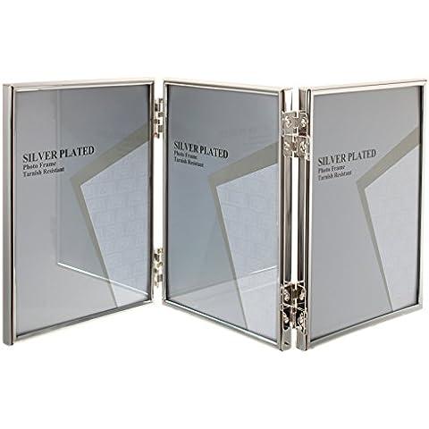 Viceni - Marco vertical triple para fotos, bañado en plata (10 x 15 cm)