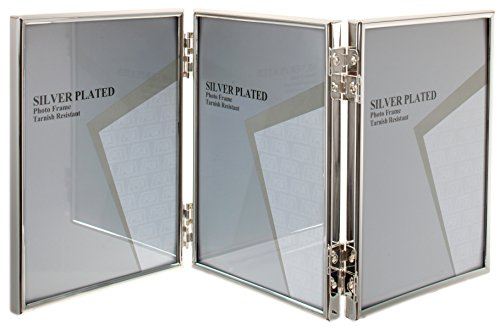 Viceni Silver Plated Thin Edge Hinged Triple Photo Frame, 5 by 3.5-Inch