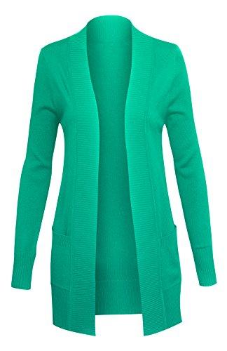Klassischer Damen Sweater Cardigan mit langen Ärmeln und Taschen vorne offen (Wms-kleidung)