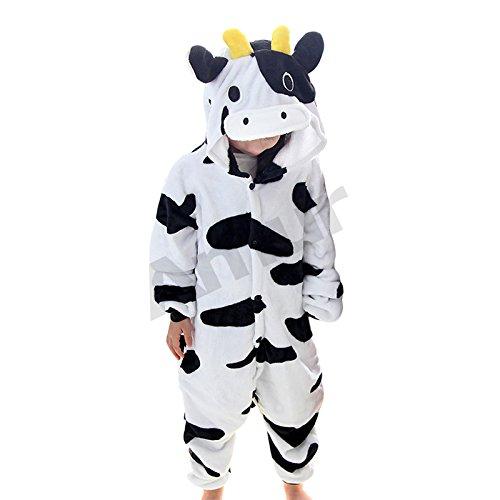 ungen/Mädchen Cosplay Kostüm Jumpsuit Overall Schlafanzug Pyjama, Schwarz-Weiß Kuh, Gr. 98/104( Herstellergröße: 100) ()