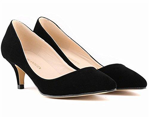 Classique Simple de Mariage Uni Suédé wealsex Talon CM Moyen 6 Pointu Bout Talon Escarpins Aiguille Couleur Femme Soirée Chaussure Noir w68qq5nO7v