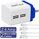 Pinnaclz Combo WC-3-WB+2 MUSB-W Micro USB Wall Charger (White-Blue)